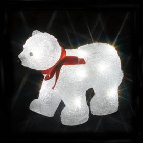 LEDクリスタルモチーフ(電池式) 白クマ(小)A