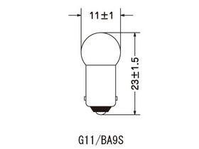 電球形状G11/口金BA9S [G11/BA9Sタイプ] 6.3V 1W (10個入)