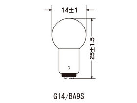 電球形状G14/口金BA9S [G14/BA9Sタイプ] 24V 6W (10個入) (SLGB-1409)