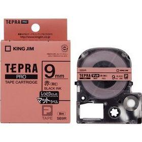 「テプラ」PROテープカートリッジ マットラベル 赤ラベル 黒文字 9mm幅