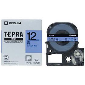「テプラ」PROテープカートリッジ カラーラベル(パステル) 青ラベル 黒文字 12mm幅