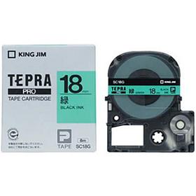「テプラ」PROテープカートリッジ カラーラベル(パステル) 緑ラベル 黒文字 18mm幅