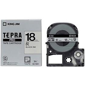 「テプラ」PROテープカートリッジ カラーラベル(パステル) グレーラベル 黒文字 18mm幅