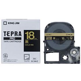 「テプラ」PROテープカートリッジ カラーラベル(パステル) 黒ラベル 金文字 18mm幅