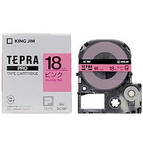「テプラ」PROテープカートリッジ カラーラベル(パステル) ピンクラベル 黒文字 18mm幅