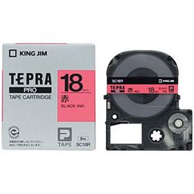 「テプラ」PROテープカートリッジ カラーラベル(パステル) 赤ラベル 黒文字 18mm幅