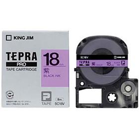 「テプラ」PROテープカートリッジ カラーラベル(パステル) 紫ラベル 黒文字 18mm幅