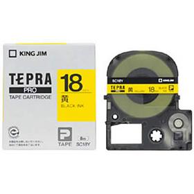 「テプラ」PROテープカートリッジ カラーラベル(パステル) 黄ラベル 黒文字 18mm幅