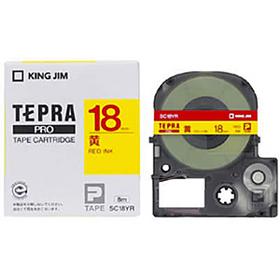 「テプラ」PROテープカートリッジ カラーラベル(パステル) 黄ラベル 赤文字 18mm幅