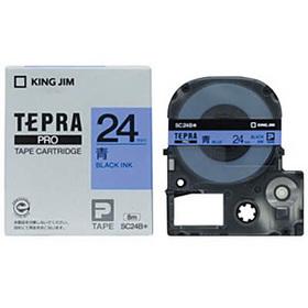 「テプラ」PROテープカートリッジ カラーラベル(パステル) 青ラベル 黒文字 24mm幅