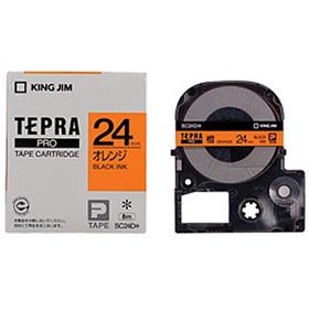 「テプラ」PROテープカートリッジ カラーラベル(パステル) オレンジラベル 黒文字 24mm幅