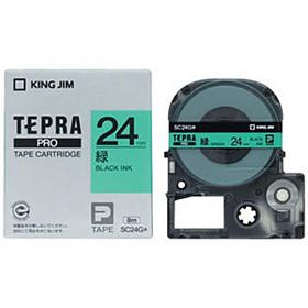「テプラ」PROテープカートリッジ カラーラベル(パステル) 緑ラベル 黒文字 24mm幅