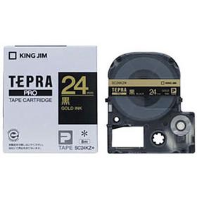 「テプラ」PROテープカートリッジ カラーラベル(パステル) 黒ラベル 金文字 24mm幅