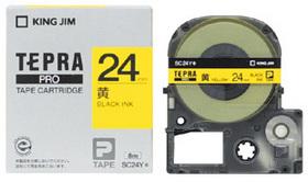 「テプラ」PROテープカートリッジ カラーラベル(パステル) 黄ラベル 黒文字 24mm幅