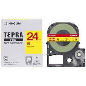 「テプラ」PROテープカートリッジ カラーラベル(パステル) 黄ラベル 赤文字 24mm幅