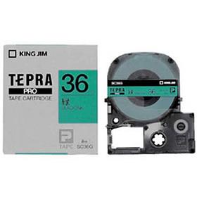 「テプラ」PROテープカートリッジ カラーラベル(パステル) 緑ラベル 黒文字 36mm幅