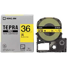 「テプラ」PROテープカートリッジ カラーラベル(パステル) 黄ラベル 黒文字 36mm幅