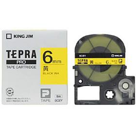 「テプラ」PROテープカートリッジ カラーラベル(パステル) 黄ラベル 黒文字 6mm幅
