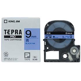 「テプラ」PROテープカートリッジ カラーラベル(パステル) 青ラベル 黒文字 9mm幅