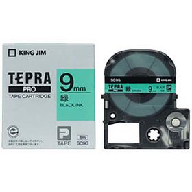 「テプラ」PROテープカートリッジ カラーラベル(パステル) 緑ラベル 黒文字 9mm幅