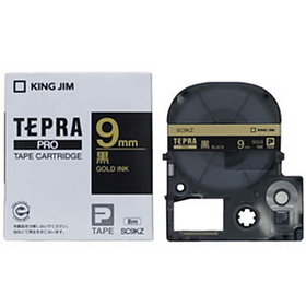 「テプラ」PROテープカートリッジ カラーラベル(パステル) 黒ラベル 金文字 9mm幅