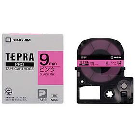 「テプラ」PROテープカートリッジ カラーラベル(パステル) ピンクラベル 黒文字 9mm幅