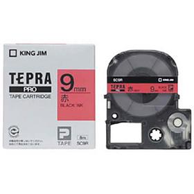 「テプラ」PROテープカートリッジ カラーラベル(パステル) 赤ラベル 黒文字 9mm幅