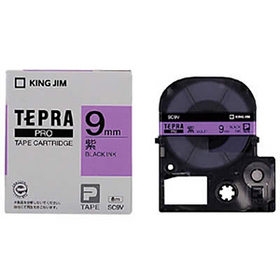 「テプラ」PROテープカートリッジ カラーラベル(パステル) 紫ラベル 黒文字 9mm幅