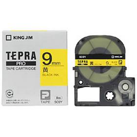 「テプラ」PROテープカートリッジ カラーラベル(パステル) 黄色ラベル 黒文字 9mm幅