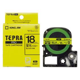 「テプラ」PROテープカートリッジ カラーラベル(蛍光色) 黄ラベル 黒文字 18mm幅 (SK18Y)