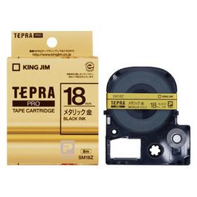 「テプラ」PROテープカートリッジ カラーラベル(メタリック) 金ラベル 黒文字 18mm幅 (SM18Z)