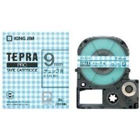 「テプラ」PROテープカートリッジ 模様ラベル チェック青 グレー文字 9mm幅 (SWX9BH)