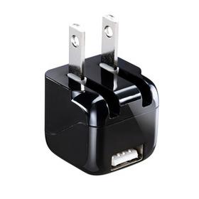 超小型USB充電器 (1A出力・ブラック)